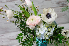 Bouquet in vase of glass. royalty free stock image