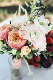 Bouquet vase wedding table. Tenderness flower event Stock Photos
