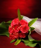 Bouquet with veil stock photos