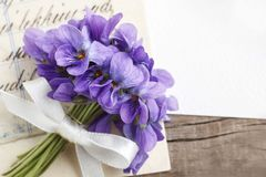 Bouquet of violet flowers viola odorata and vintage letters Royalty Free Stock Images