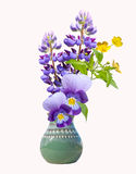 Bouquet of violet garden flowers in the earthenware vase  Royalty Free Stock Photography