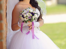 Bouquet with Violet Ribbons Stock Photo