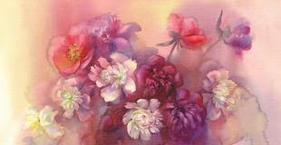 Bouquet of violet and white peonies watercolor stock illustration
