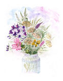 Bouquet of watercolor colorful wildflowers in glass vase Royalty Free Stock Photo