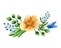 A bouquet with watercolor flowers. Composition on yellow and blue colors. Hand paint illustration Stock Photo