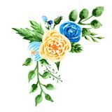 A bouquet with watercolor flowers. Composition on yellow and blue colors. Hand paint illustration Stock Photography