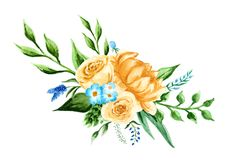 A bouquet with watercolor flowers. Composition on yellow and blue colors. Hand paint illustration Royalty Free Stock Photo