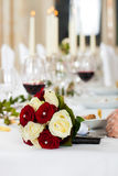 Bouquet at a wedding table Royalty Free Stock Photos