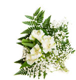 Bouquet of white Alstroemeria with fern isolated on white background Royalty Free Stock Image