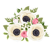 Bouquet of white anemone flowers and pink rosebuds. Vector illustration. royalty free illustration