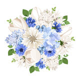 Bouquet of white and blue flowers. Vector illustration. Stock Image