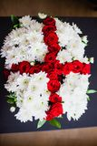 Bouquet of white chrysanthemums and red roses Stock Photos