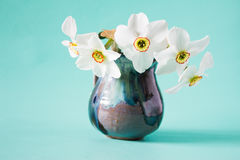 Bouquet of white daffodils in vintage vase. Spring Flower Stock Photography