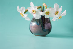 Bouquet of white daffodils in vintage vase. Spring Flower Stock Photo