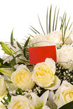Bouquet of white flowers with a business card Royalty Free Stock Photography