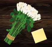 Bouquet of white flowers. Empty Yellow sheet of paper for notes. Sticker. Empty space for your ad or inscriptions or messages. Valentine`s wedding and birthday Stock Image
