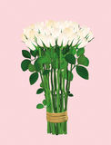 Bouquet of white flowers. Roses tied with a rope. Greeting card. For Valentine`s Day wedding and birthday. Empty space for your text or advertisement. Vector royalty free illustration