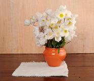 Bouquet of white flowers on the table Royalty Free Stock Image