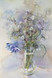 Bouquet of white flowres watercolor. Bouquet of white flowers watercolor handmade illiustration Stock Image