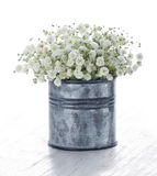 Bouquet of white gypsophila on wooden background Royalty Free Stock Photography