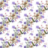 Bouquet white lily with blue bell flowers pattern seamless Royalty Free Stock Photography