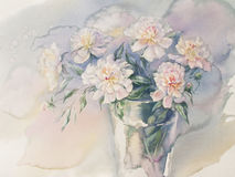 Bouquet of white peonies watercolor. Bouquet of white and rose peonies watercolor illiustration Royalty Free Stock Photo