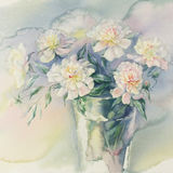 Bouquet of white peonies watercolor square. Bouquet of white and rose peonies watercolor illiustration Royalty Free Stock Photos