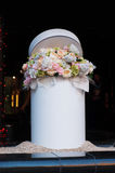 Bouquet of white and pink flowers in cylinder Stock Image