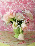 Bouquet of white and pink roses Stock Photos