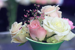 Bouquet of white and pink roses in the vase. Royalty Free Stock Photo