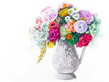 Bouquet in a White Pitcher Royalty Free Stock Image
