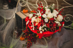 Bouquet of white and red flowers Royalty Free Stock Photo