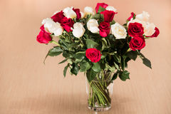 Bouquet of white and red roses.  Stock Photography
