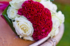 Bouquet of white and red roses Stock Photo