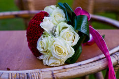 Bouquet of white and red roses Royalty Free Stock Photos