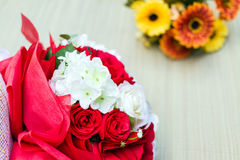 Bouquet of white and red roses Royalty Free Stock Image