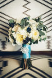Bouquet with white roses and blue flowers Royalty Free Stock Photography