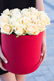 Bouquet of white roses. In a box  in the hands of the girl Stock Photo