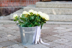 Bouquet of white roses for decoration of a wedding Stock Images