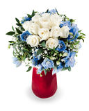 Bouquet from white roses and delphinium Stock Photos