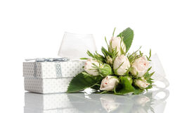 Bouquet of white roses and gift box Royalty Free Stock Image