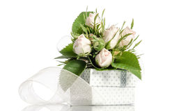 Bouquet of white roses and gift box Stock Photos