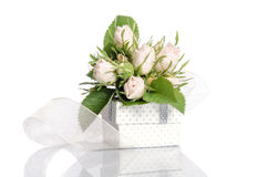 Bouquet of white roses and gift box Royalty Free Stock Images