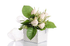 Bouquet of white roses and gift boxd Royalty Free Stock Images