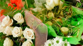 Bouquet Of White Roses stock video footage
