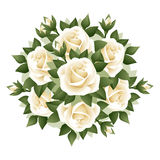 Bouquet of white roses. illustration. Royalty Free Stock Photo