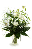 Bouquet of white roses and lily. In a vase Royalty Free Stock Photography