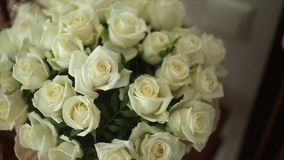 Bouquet of white roses stock video