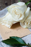 Bouquet of White Roses to Valentine's Day and Letter Stock Image