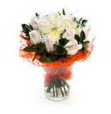 Bouquet of white roses in vase. Decorations Stock Image